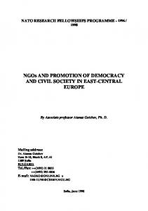 NGOs AND PROMOTION OF DEMOCRACY AND CIVIL SOCIETY IN EAST-CENTRAL EUROPE