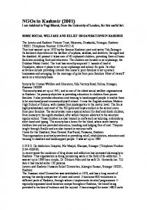 NGOs in Kashmir (2001) I am indebted to Yogi Sikand, from the University of London, for this useful list: