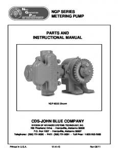 NGP SERIES METERING PUMP PARTS AND INSTRUCTIONAL MANUAL