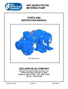 NGP SERIES PISTON METERING PUMP PARTS AND INSTRUCTION MANUAL