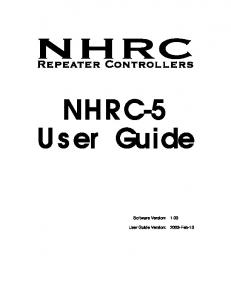 NHRC-5 User Guide. Software Version: User Guide Version: 2003-Feb-15