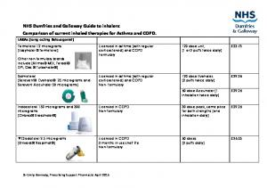 NHS Dumfries and Galloway Guide to inhalers: Comparison of current inhaled therapies for Asthma and COPD