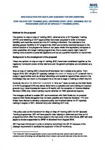 NHS EDUCATION FOR SCOTLAND GUIDANCE FOR IMPLEMENTING