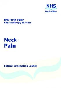 NHS Forth Valley Physiotherapy Services. Neck Pain. Patient Information Leaflet