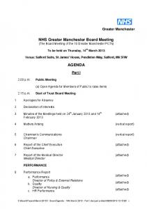 NHS Greater Manchester Board Meeting (The Board Meeting of the 10 Greater Manchester PCTs) AGENDA
