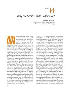 Nhy are Social Funds (SFs) so popular