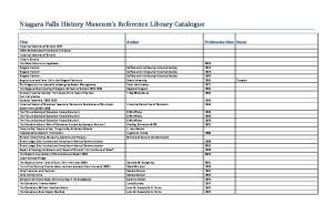 Niagara Falls History Museum s Reference Library Catalogue