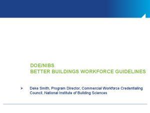 NIBS BETTER BUILDINGS WORKFORCE GUIDELINES