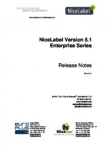 NiceLabel Version 5.1 Enterprise Series. Release Notes. Rev-0711