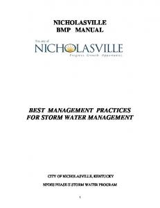 NICHOLASVILLE BMP MANUAL BEST MANAGEMENT PRACTICES FOR STORM WATER MANAGEMENT