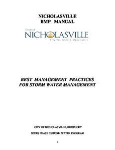 NICHOLASVILLE BMP MANUAL BEST MANAGEMENT PRACTICES FOR STORM WATER MANAGEMENT