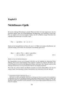 Nichtlineare Optik. Kapitel 8