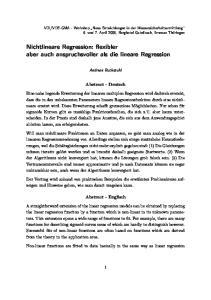 Nichtlineare Regression: flexibler aber auch anspruchsvoller als die lineare Regression