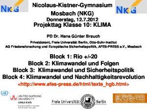 Nicolaus-Kistner-Gymnasium Mosbach (NKG) Donnerstag, Projekttag Klasse 10: KLIMA