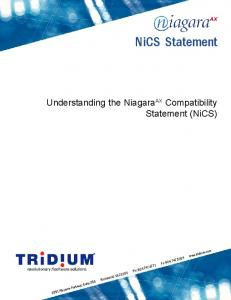 NiCS Statement. Understanding the Niagara AX Compatibility Statement (NiCS)