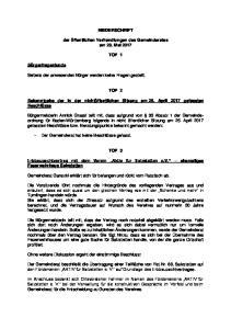 NIEDERSCHRIFT. der öffentlichen Verhandlungen des Gemeinderates am 23. Mai 2017 TOP 1 TOP 2