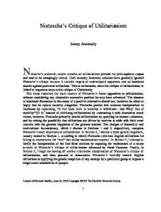 Nietzsche s Critique of Utilitarianism