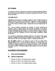 NIFT S VISION ACADEMIC PROGRAMMES