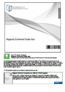 Nigeria Criminal Code Act