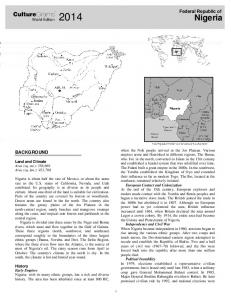 Nigeria. CultureGrams. Federal Republic of BACKGROUND. World Edition