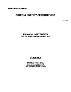 NIGERIA ENERGY SECTOR FUND