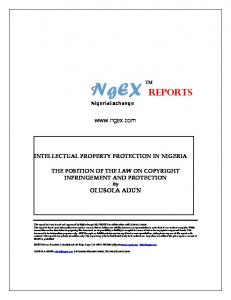 NigeriaExchange.  INTELLECTUAL PROPERTY PROTECTION IN NIGERIA