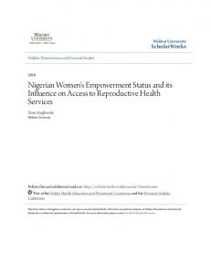 Nigerian Women's Empowerment Status and its Influence on Access to Reproductive Health Services