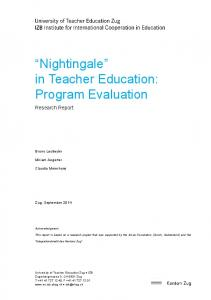 Nightingale in Teacher Education: Program Evaluation