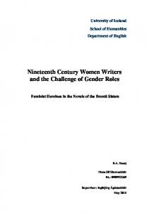 Nineteenth Century Women Writers and the Challenge of Gender Roles