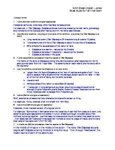 Ninth Grade English Jones Study Guide for Fall Final Exam