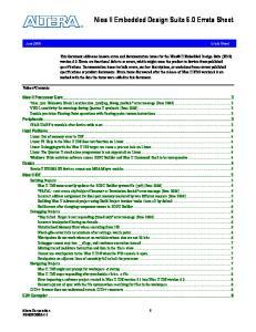 Nios II Embedded Design Suite 6.0 Errata Sheet