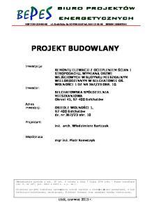 NIP ul. Grabińska 8a Łódź tel REGON PROJEKT BUDOWLANY