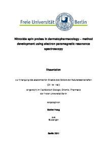 Nitroxide spin probes in dermatopharmacology method development using electron paramagnetic resonance spectroscopy