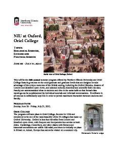 NIU at Oxford, Oriel College