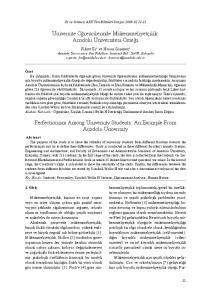 Üniversite Öğrencilerinde Mükemmeliyetçilik: Anadolu Üniversitesi Örneği. Perfectionism Among University Students: An Example From Anadolu University