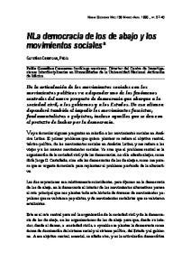 NLa democracia de los de abajo y los movimientos sociales*