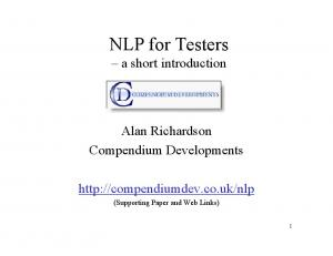 NLP for Testers a short introduction