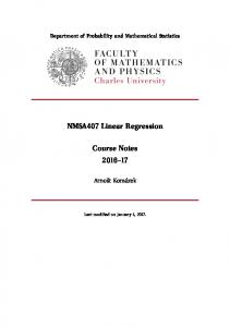 NMSA407 Linear Regression. Course Notes