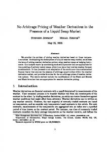 No-Arbitrage Pricing of Weather Derivatives in the Presence of a Liquid Swap Market