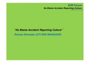No Blame Accident Reporting Culture