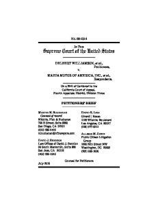 NO IN THE. DELBERT WILLIAMSON, et al., Petitioners, v. MAZDA MOTOR OF AMERICA, INC., et al., Respondents