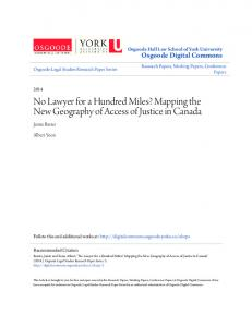 No Lawyer for a Hundred Miles? Mapping the New Geography of Access of Justice in Canada