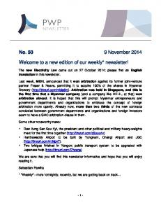 No November Welcome to a new edition of our weekly* newsletter!