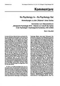 No Psychology In No Psychology Out