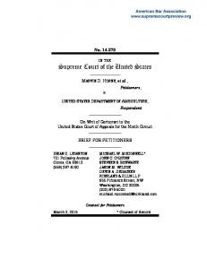 No UNITED STATES DEPARTMENT OF AGRICULTURE, Respondent. BRIEF FOR PETITIONERS
