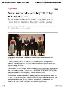 Nobel winner declares boycott of top science journals Science