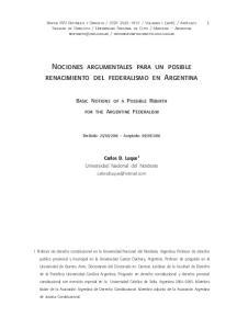 Nociones argumentales para un posible renacimiento del federalismo en Argentina