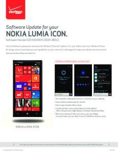 NOKIA LUMIA ICON. Software Version