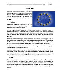 NOMBRE: Periodo: Fecha: EUROPA