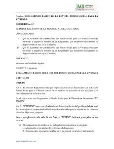Nombre: REGLAMENTO BASICO DE LA LEY DEL FONDO SOCIAL PARA LA VIVIENDA